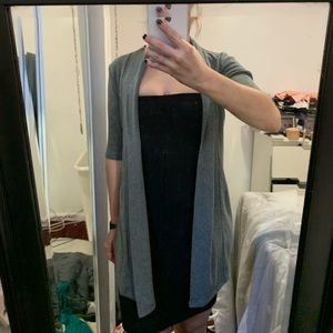 Grey elbow length arm, thigh length sweater